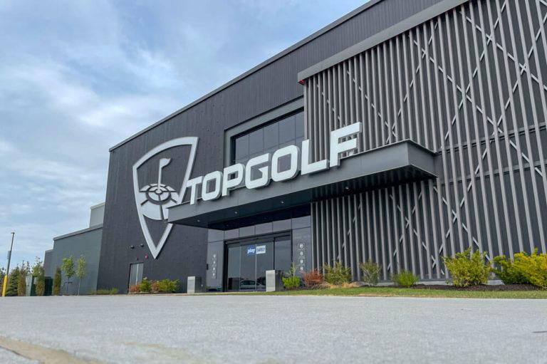 Entrance to Top Golf in Omaha, Nebraska