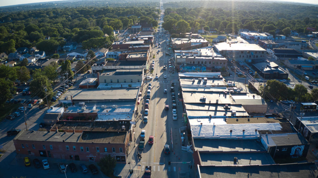 Aerial View of Downtown Benson in Midtown Omaha