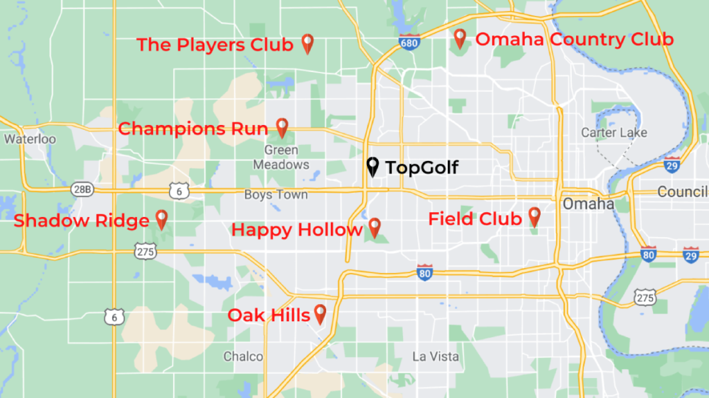 Map of Omaha Country Clubs