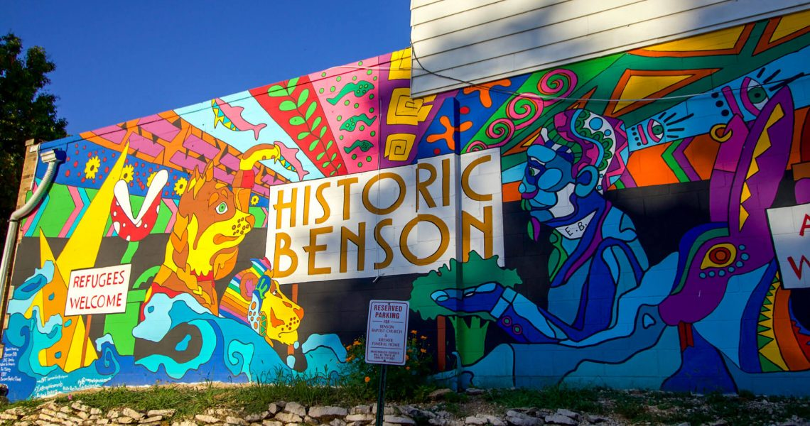 Historic Benson sign on side of building in Omaha